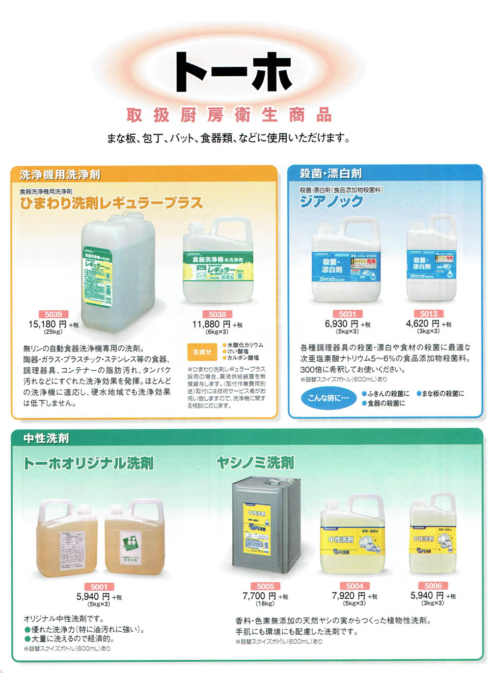 保育 衛生管理用品 まな板・包丁・食器類に使える洗浄剤一覧